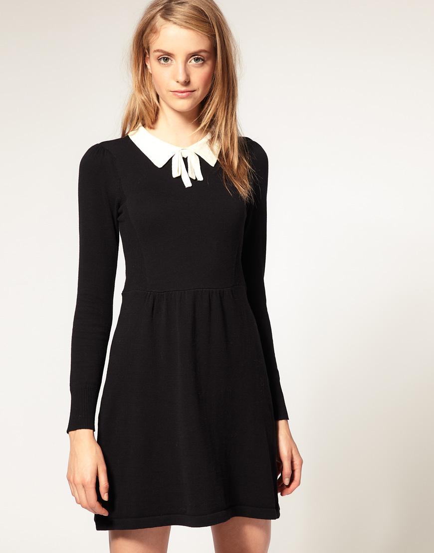 Платье чёрное с белым
