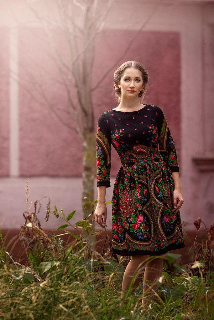 платья из павлопосадских платков фото изготовление дополняющих