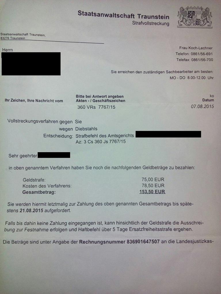 Неоплаченные штрафы в германии за кражу