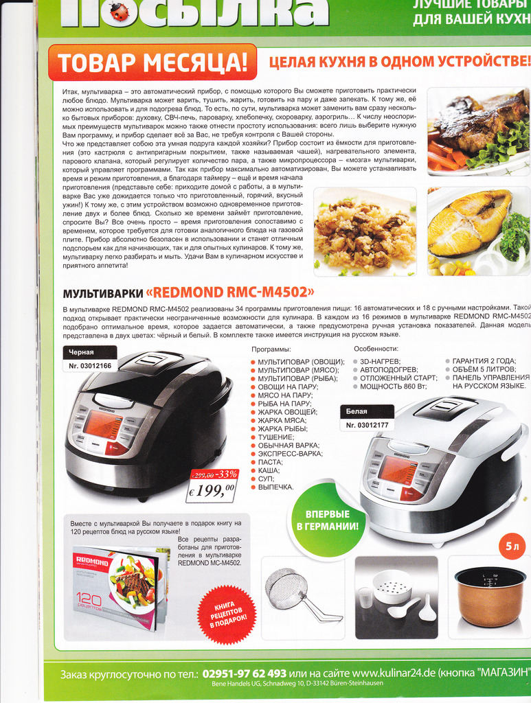 Multicooker Redmond RMC-4503: manual, spare parts, recipe book, reviews 34